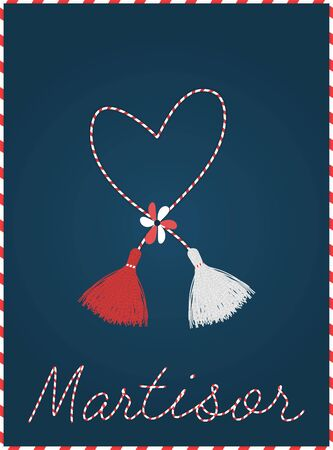 Martisor postcard banner frame. With pom-pom elements. 1 march first spring holiday background