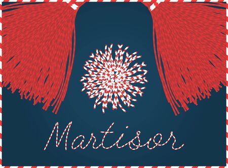 Martisor banner frame. With pom-pom elements. 1 march first spring holiday background Vectores