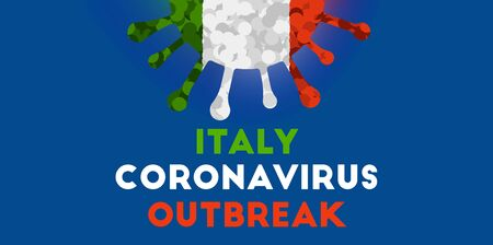 Coronavirus Italy outbreak. Colored ncov-2019 covid-2019 flag vector background Vectores