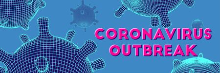Coronavirus futuristic glowing vector 3d mesh cell. World virus pandemia banner. Flow particles. DNA elements