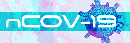 covid-19 3d virus cell abstract vector horizontal banner. Virus ncov-19 outbreak isolation  news background Фото со стока - 143298441