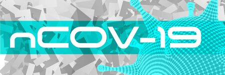 covid-19 3d virus cell abstract vector horizontal banner. Virus ncov-19 outbreak isolation  news background