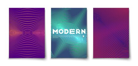 Trendy halftone gradient minimal geometric cover set. Abstract 2d retro style 80s distortion effect. Foto de archivo - 144754526