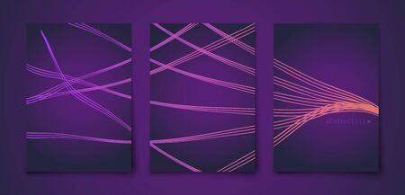 Beautiful golden lines soft background, great design for any purposes .luxury soft dark violet background with yellow abstract geometric lines. brochure vector design. Vectores