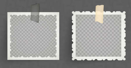 vintage retro photo frames taped on with tape Ilustración de vector