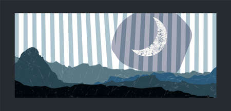 Mountains and moon background. Minimalist poster.