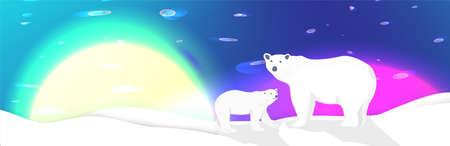 Polar bears and northen lights landscape vector