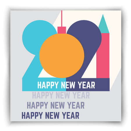 2021 new year flat geometric creative poster. Greeting card artwork, brochure template. Holiday vector background concept. Minimalistic trendy abstract illustration Иллюстрация