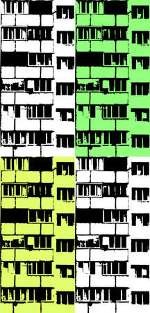 Black and white facade of building seamless pattern. Panel house windows and balcony. Vector texture
