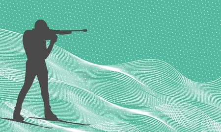 Shooting biathlete vector silhouette. Biathlonist with biathlone rifle background.Winter sports world championship illustration.
