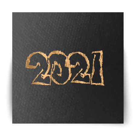 2021 gold on dark luxury textured paper . Vector illustration Фото со стока