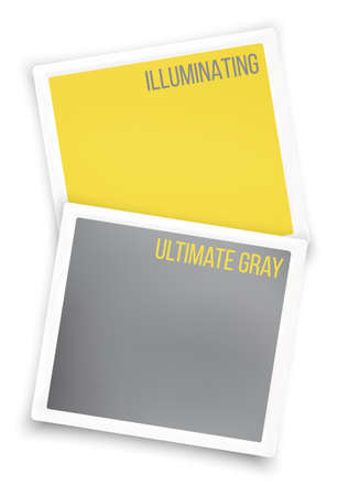 Colors of the year 2021 Yellow Illuminating and ultimate gray in white borders. Vector illustration