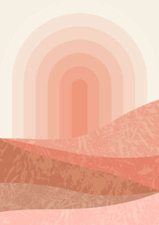 Arc sun with circle rays and textured terracotta colors mountains vector illustration. Mid century minimalist landscape illustration. contemporary aesthetic art print template.Modern trendy boho wall decor.