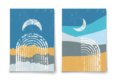 Set of contemporary aesthetic art print templates. Mid century moon, arc and mountains minimalist landscape illustration. Modern trendy boho wall decor.