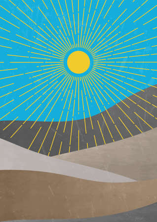 Mid century minimalist landscape illustration. contemporary aesthetic art print template.Modern trendy boho wall decor. Yellow sun with circle of rays and textured mountains vector illustration. Kazakhstan flag colors