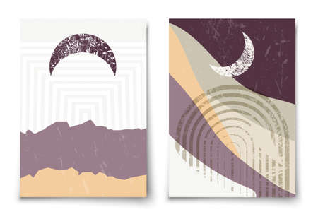 Set of contemporary aesthetic art print templates. Mid century moon, arc and mountains minimalist landscape illustration. Modern trendy boho wall decor.