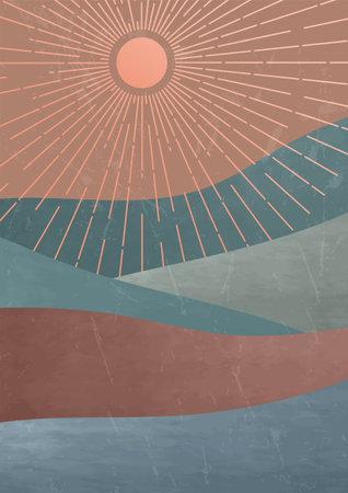 Modern trendy boho wall decor. Mid century minimalist landscape illustration. Rose sun with circle of rays and textured mountains vector illustration. Фото со стока