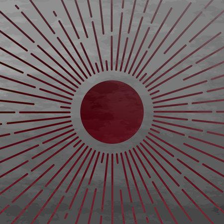 Sunburst celestial minimal ethnic elements design. Sun and moon concept. Vintage magical mystical symbol. Vector illustration Иллюстрация