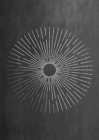 Sunburst celestial minimal ethnic elements design. Vintage magical mystical symbol. Vector illustration