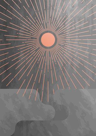 Sunburst mid century textured background. Minimalist boho home decor design element. Rose and gray colors. Abstract sun and rays geometric concept. Иллюстрация
