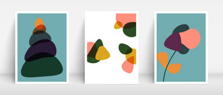 Mid century colors boho style backgrounds for home decor. Organic fluid drops. Balanced stones. Flowers and abstract blobs pattern.