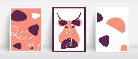 Minimal style bull head 2021 new year background. Caw red pattern. Organic fluid bulb shapes design. Geometric minimalistic aesthetic vector poster.