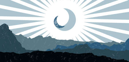 Mid century minimalistic mountains and moon background. Minimalist poster. Abstract landscape vector illustration.