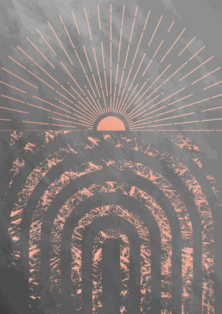 Sunburst with mid century arc textured background. Minimalist boho home decor design element. Rose and gray colors. Abstract sun and rays geometric concept.