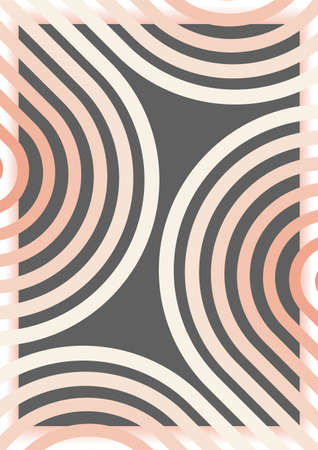 Geometric arc dynamic shapes background. Retro style sport design. Motion objects. Running track lines. Vector leaflet orbrochure cover 向量圖像