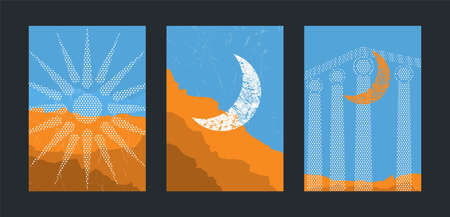 Old Greece mid century minimal art. Antique marble columns, old ruin of Greek city or Roman empire historical architecture. Moon and mountain. Vector background