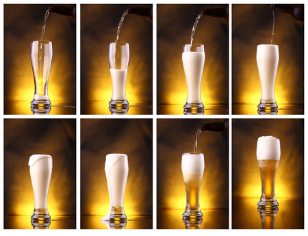 Shot series mosaic of light beer pouring into a tall glass