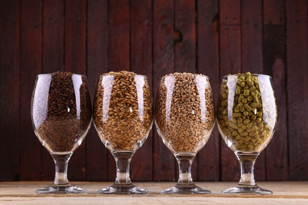 Glasses full of malts and hops over a wooden background Stock Photo