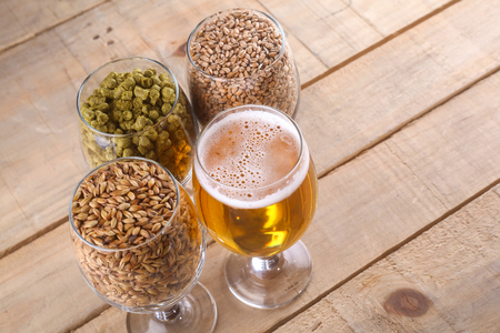 types of glasses: Glasses full of light beer, different types of malt and hops over a wooden background Stock Photo