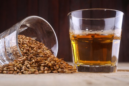 barley malt: Glass of whiskey and a glass of barley malt on a wooden background