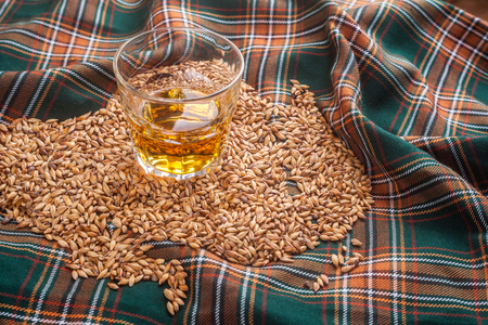 Glass of Scotch whisky on a tartan Stok Fotoğraf