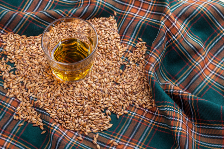 Glass of Scotch whisky on a tartan Stock Photo