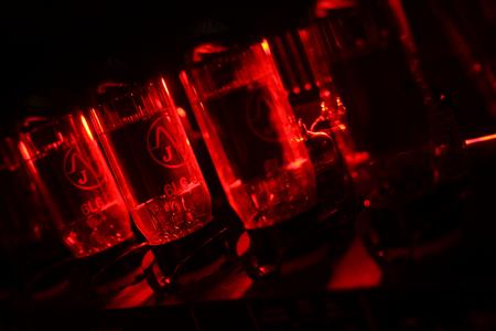guitar amplifier: Closeup shot of guitar amplifier valves during their work