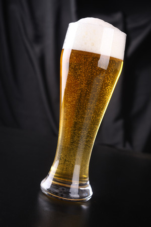 tall glass: Tall glass of sparkling lager beer over a dark background