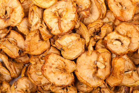 Close up shot of a pile of dried apples