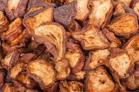 Close up shot of a pile of dried pears