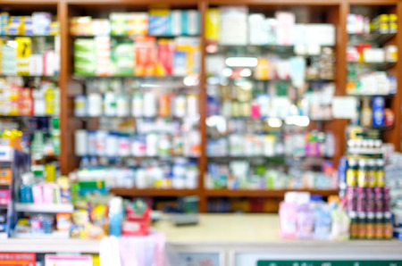drug use: Blured pharmacy shop , Blured drug store, use as background.