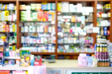 droga: Tienda de farmacia Blured, farmacia Blured, utilizar como fondo. Foto de archivo