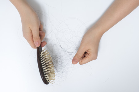 bald: Hair loss in woman hands and bruch, on white background, women postpartum defluvium