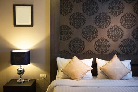 luxury bedroom: Beautiful Bedroom Interior in New Luxury Home, Hotel bedroom Stock Photo