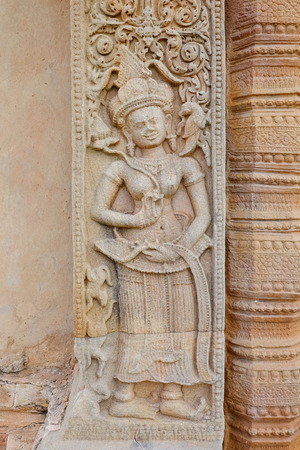 Stone carve at castle rock temple in Sikhoraphum, Surin, Thailand. Called Prasat Sikhoraphum Reklamní fotografie