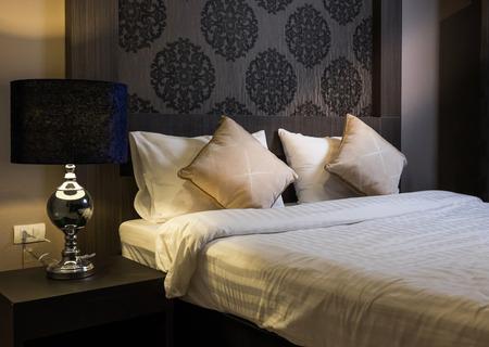 Beautiful Bedroom Interior in New Luxury Home, Hotel bedroom Reklamní fotografie