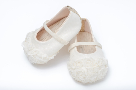 cute baby shoes for girl kids on white background Reklamní fotografie