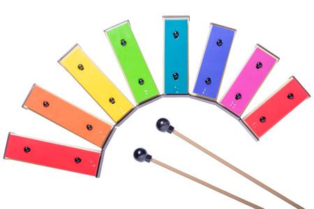 resonator: colorful xylophone isolated on white background