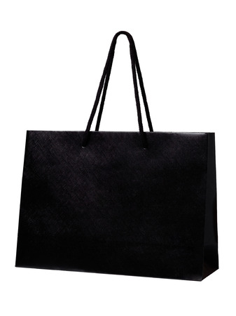 black shopping bag isolate on white background Reklamní fotografie