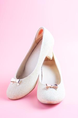 woman shoes on pink background. Reklamní fotografie